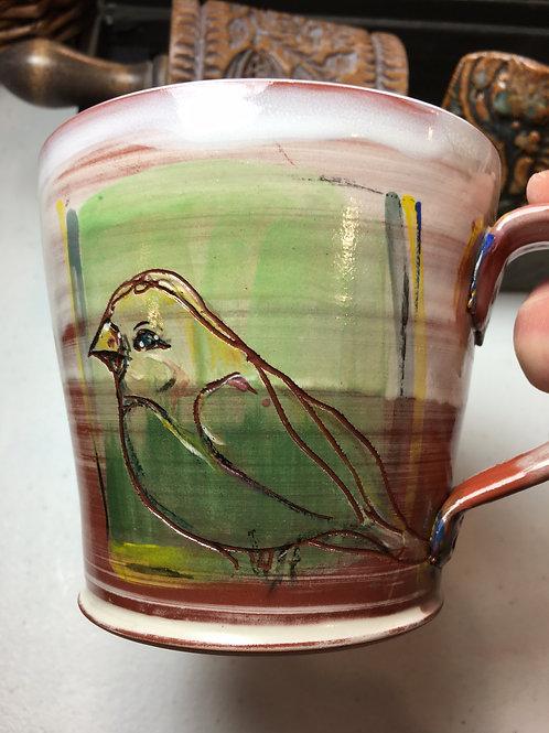 Earthenware Mug: Bird and Berry Tree
