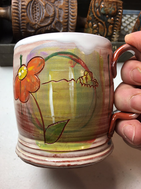 Bee w/ Mexican Sunflowers Tankard Hand and Paddled Bottom Earthenware Mug