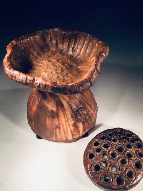 """Pedestal Floral Frog """"Lotus"""" Wood Fired Stoneware"""