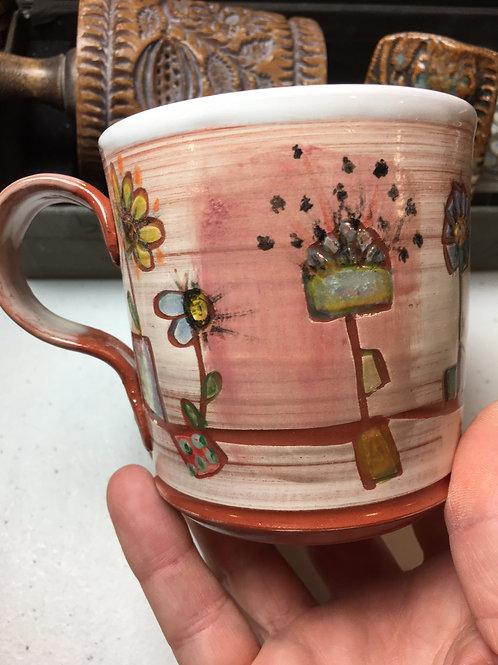 EarthenwareMug: Doodle Flowers in Pots