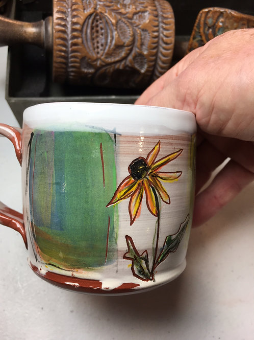 Mug w/ Three Color Blocks and a Black Eyed Susan