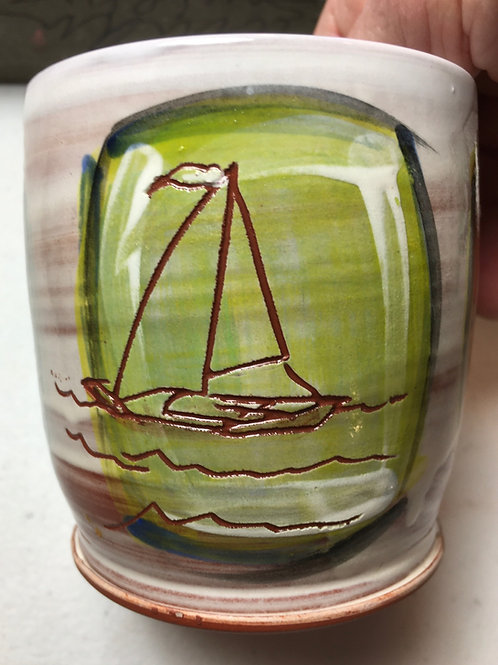 Earthenware Mug: Sailboat w/ Two Flowers
