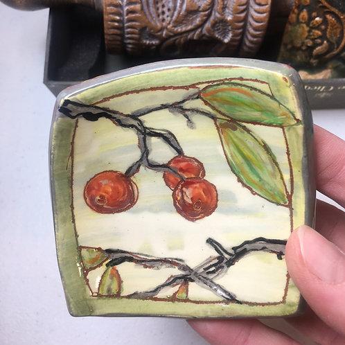 Ring Dish: Cherries w/ Ladybugs