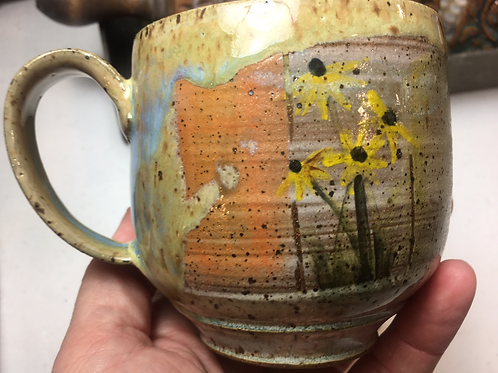 Mug w/ Black-Eyed Susans and Orange