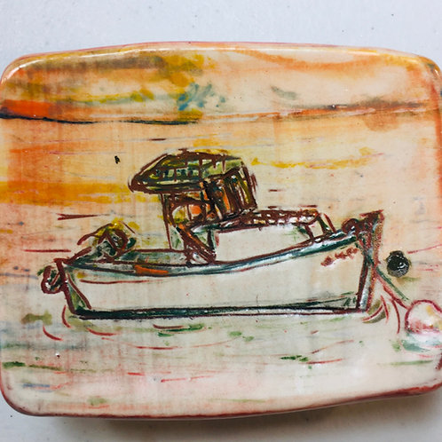 Lobster Boat at Sunset w Buoys and Trap Back Stoneware Ring Dish