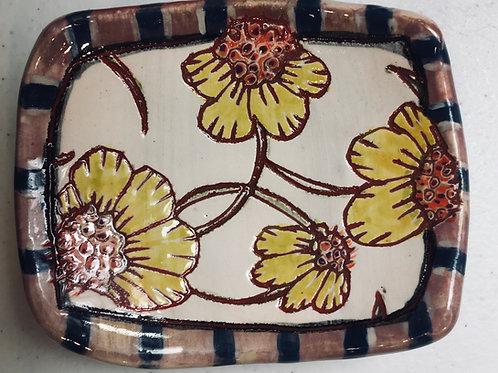 Cone Flowers w Froggie Back Stoneware Ring Dish