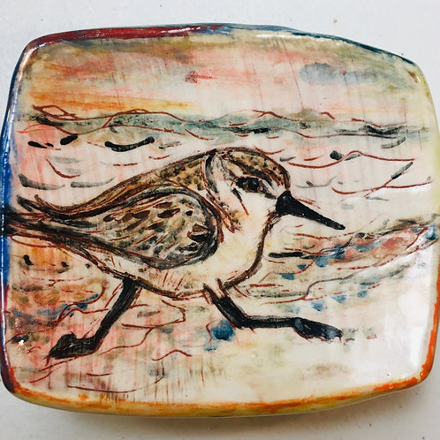 Piping Plover  w/ Beach Grass Back Stoneware Ring Dish