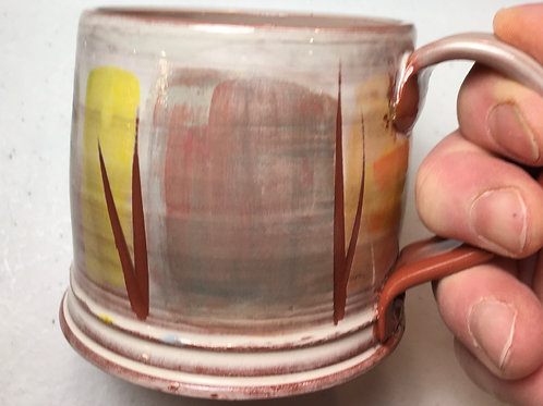 Earthenware Mug w/ Carved Lines