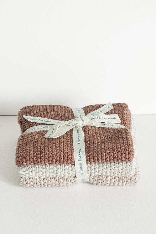 Lavette Vintage Rose Washcloths - Set of three