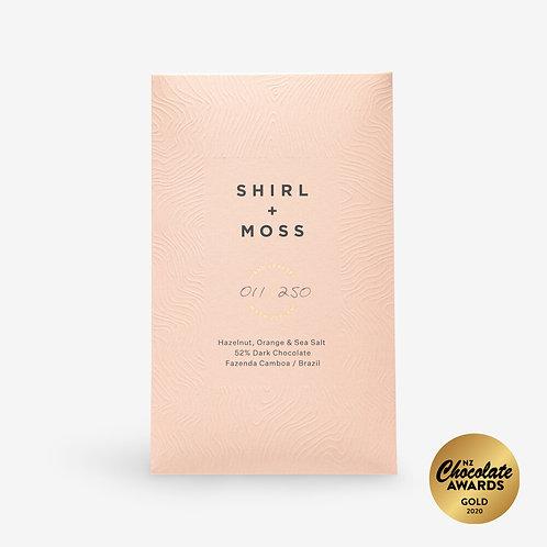 Shirl + Moss Hazelnut, Orange & Sea Salt 52% Dark Chocolate Bar