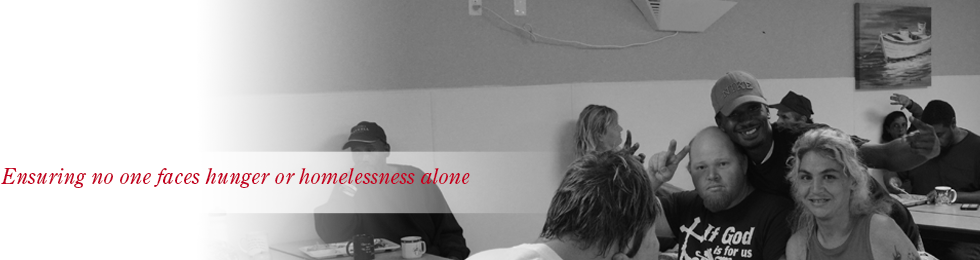 header, ensuring no one faces hunger or homelessness alone, image of three clients smiling in the dining hall