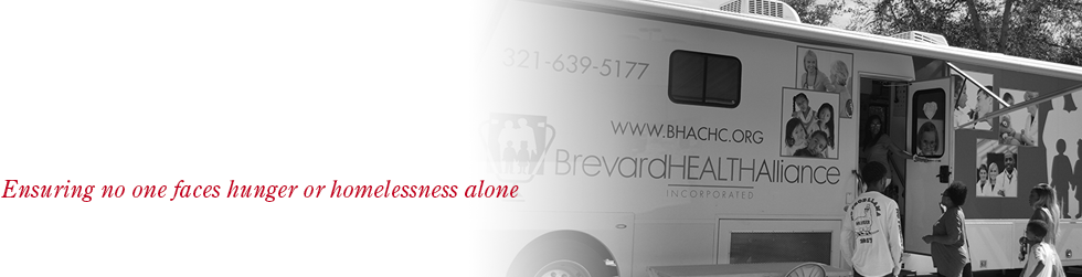 header, ensuring no one faces hunger or homelessness alone, image of the brevard health alliance bus