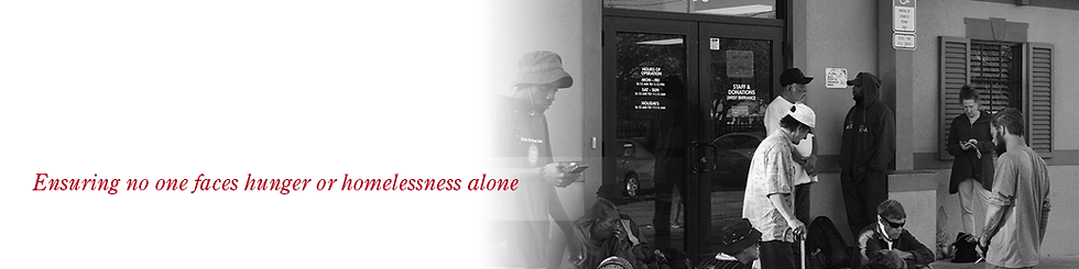 header image, ensuring no one faces hunger or homelessnes alone, image of clients outside the outreach center