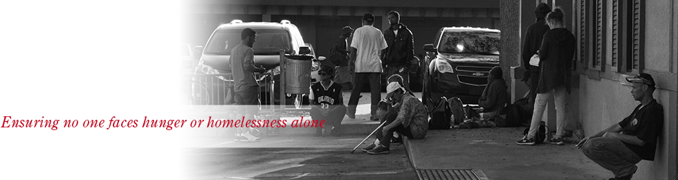 header, ensuring no one faces hunger or homelessness alone, clients waiting outside of the outreach center