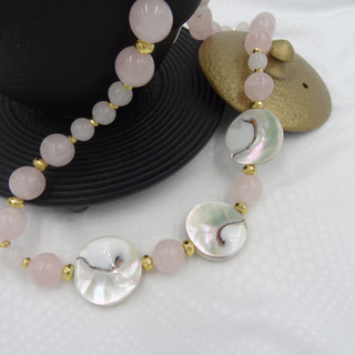 rose quartz, gold titanium hematite, sea