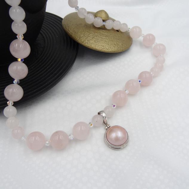 rose quart, swarovski crysta, mabel pear