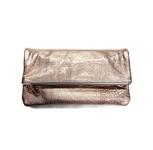 metallic leather, clutch, made in USA