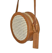 USA made leather trimmed straw bag
