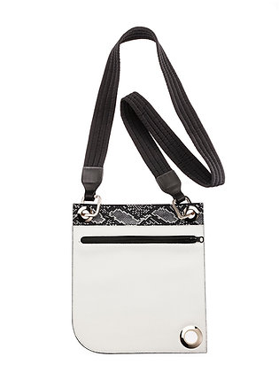 zipper pouch, white leather with printed python, made in USA