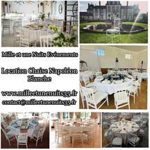 Location chaise Napoléon blanche mariage, Fougères, St Malo,Vitré, Rennes, Ille et vilaine 35, Bretagne, Normandie, Mayenne, Pays de la Loire. .