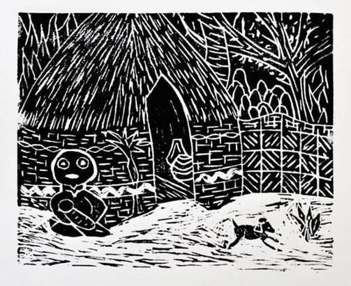 © Marry Kralt-linosnede op papier-2018   'Manawee en het hondje bij de hut'