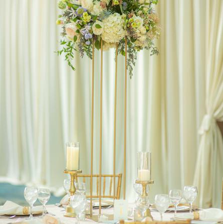 Blush and purple wedding flowers