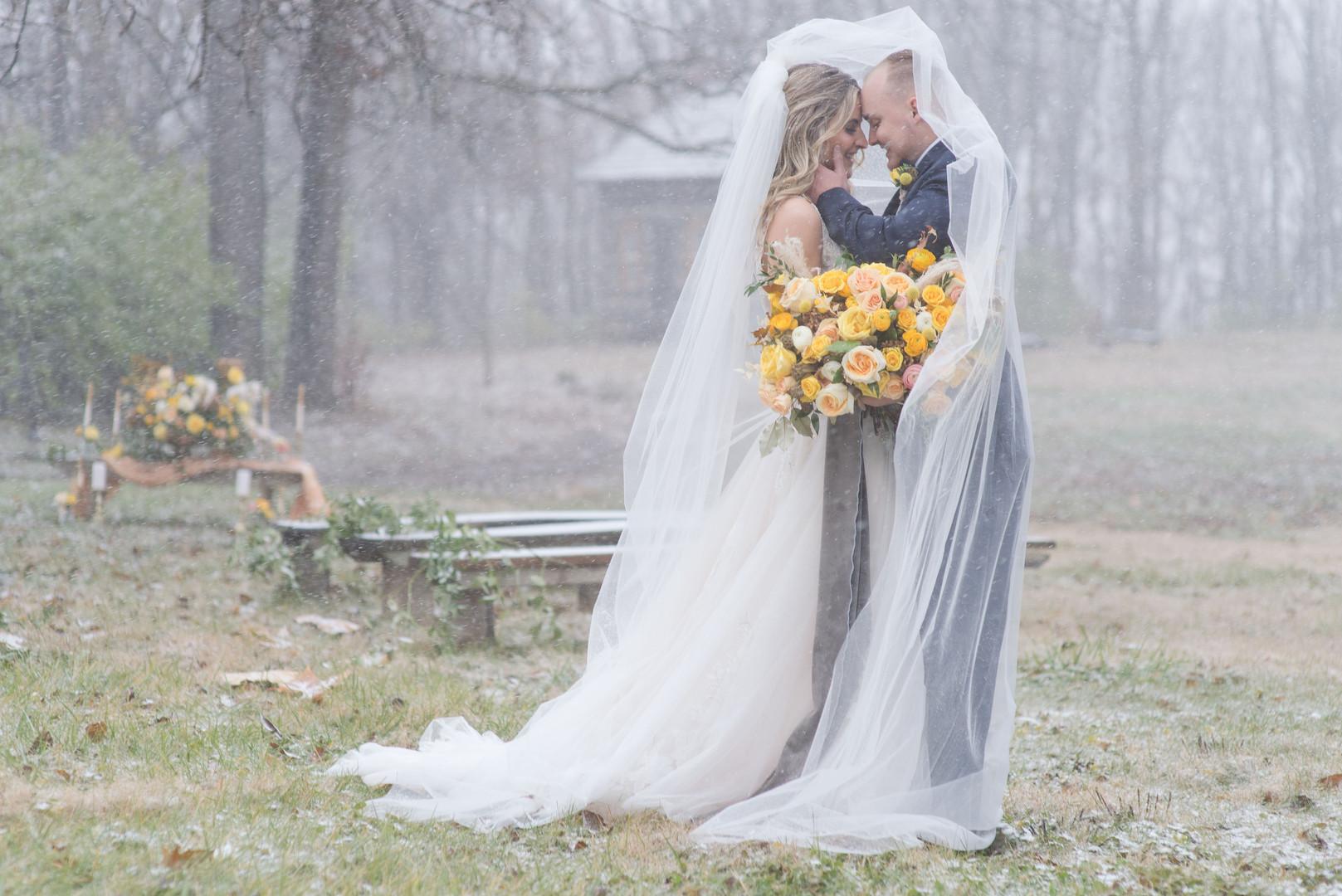 Snowy Bride and Groom