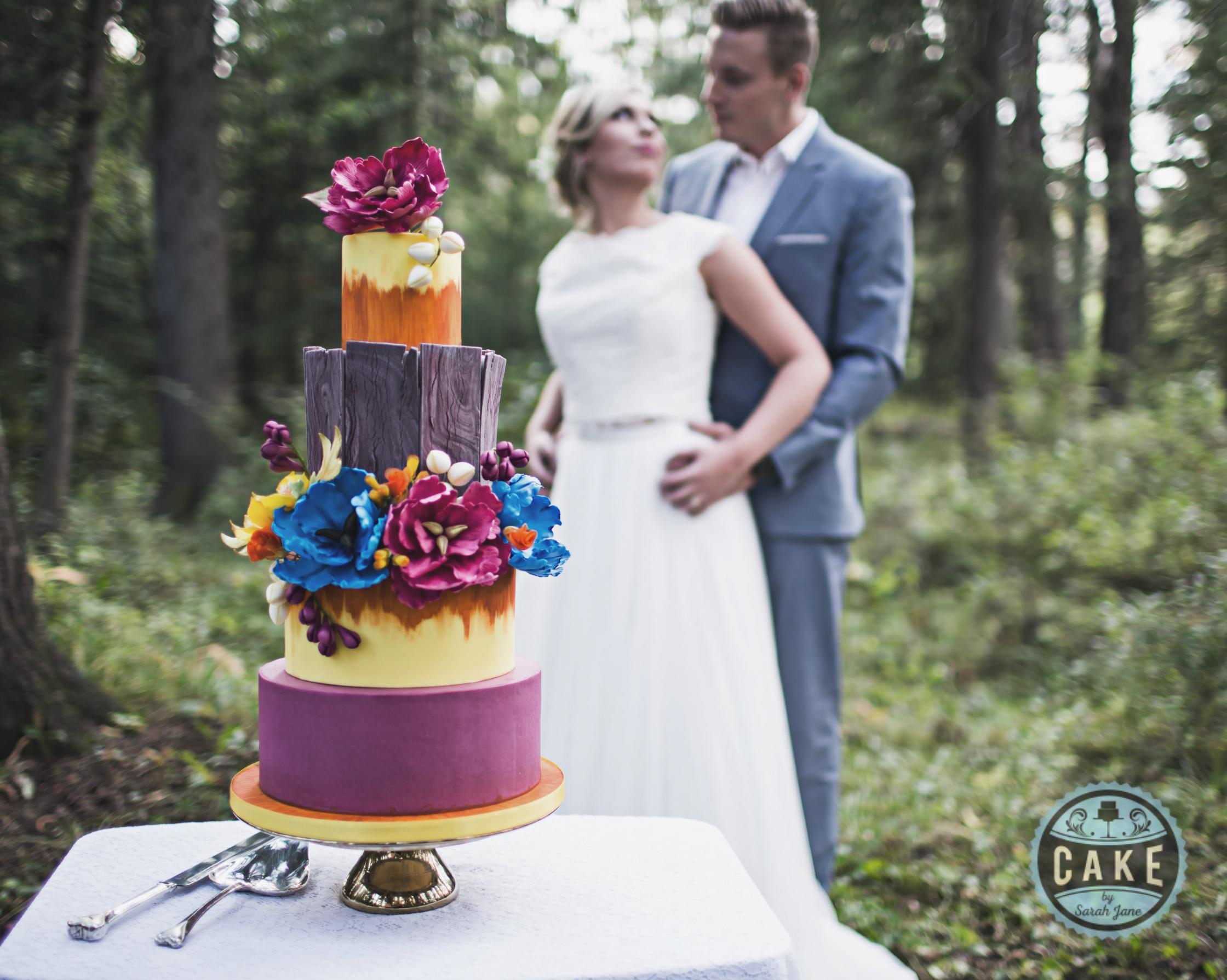 Rustic Colorful Bridal Wedding Cake Rustic Wood Custom