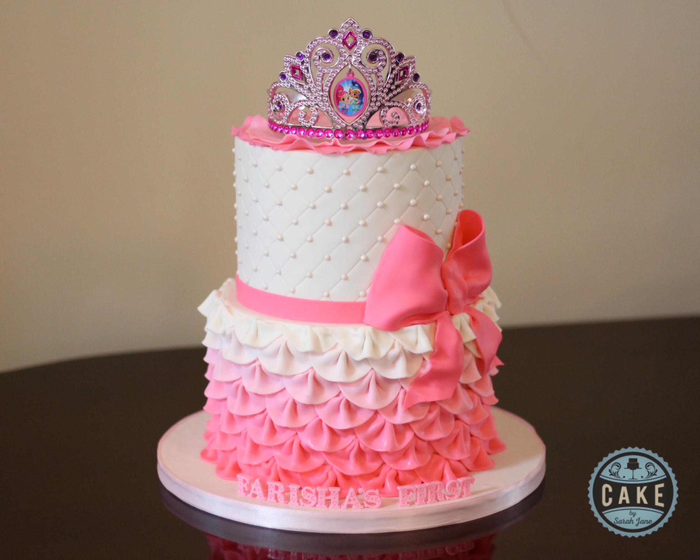Pearls Ruffles Princess Custom Cake