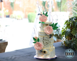 Birch Tree Wedding Cake Light Pink Flowers Custom