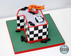 1 one number Race Car Cake