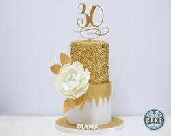 Gold 30th Birthday sequins peony