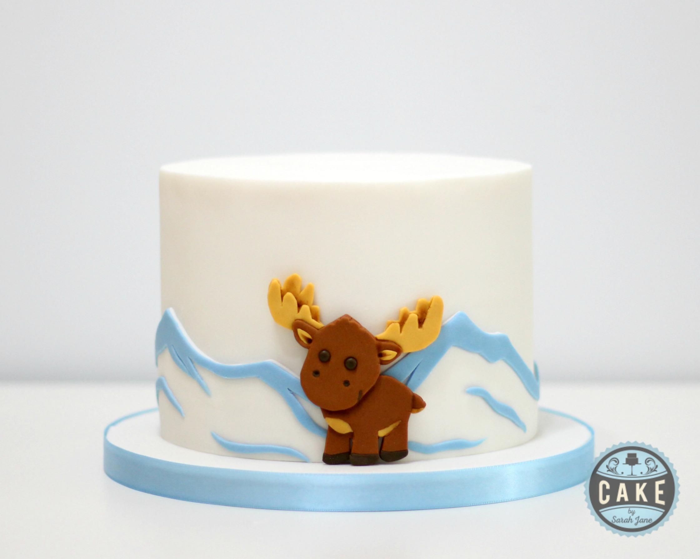 Baby Moose Baby Shower Custom Cake