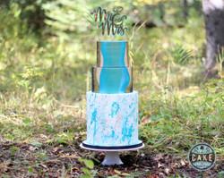 Mr Mrs Splatter Art Marble Cake Custom Wedding
