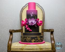 Fuchsia and Black Gold Wedding Cake