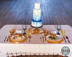 Watercolor Wedding Cake dinner table