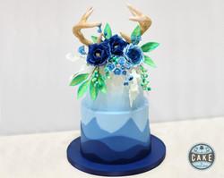 Mountain Ombre Roses Antlers Boho Custom Cake