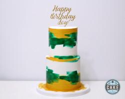 Watercolor green gold birthday cake