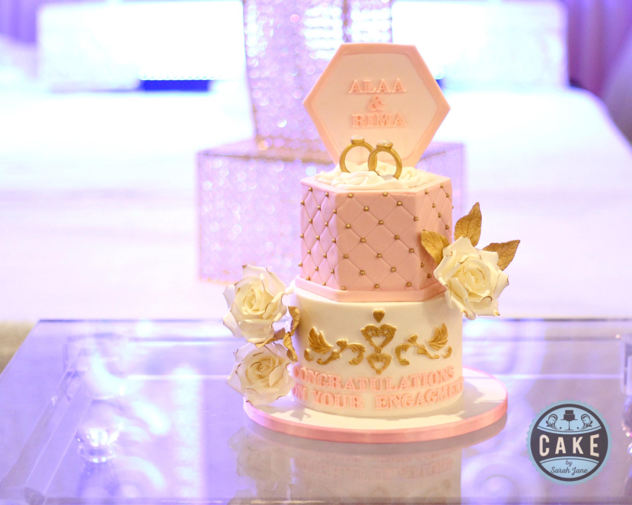 Engagement Cake Pink White Gold Custom Cake Ring box