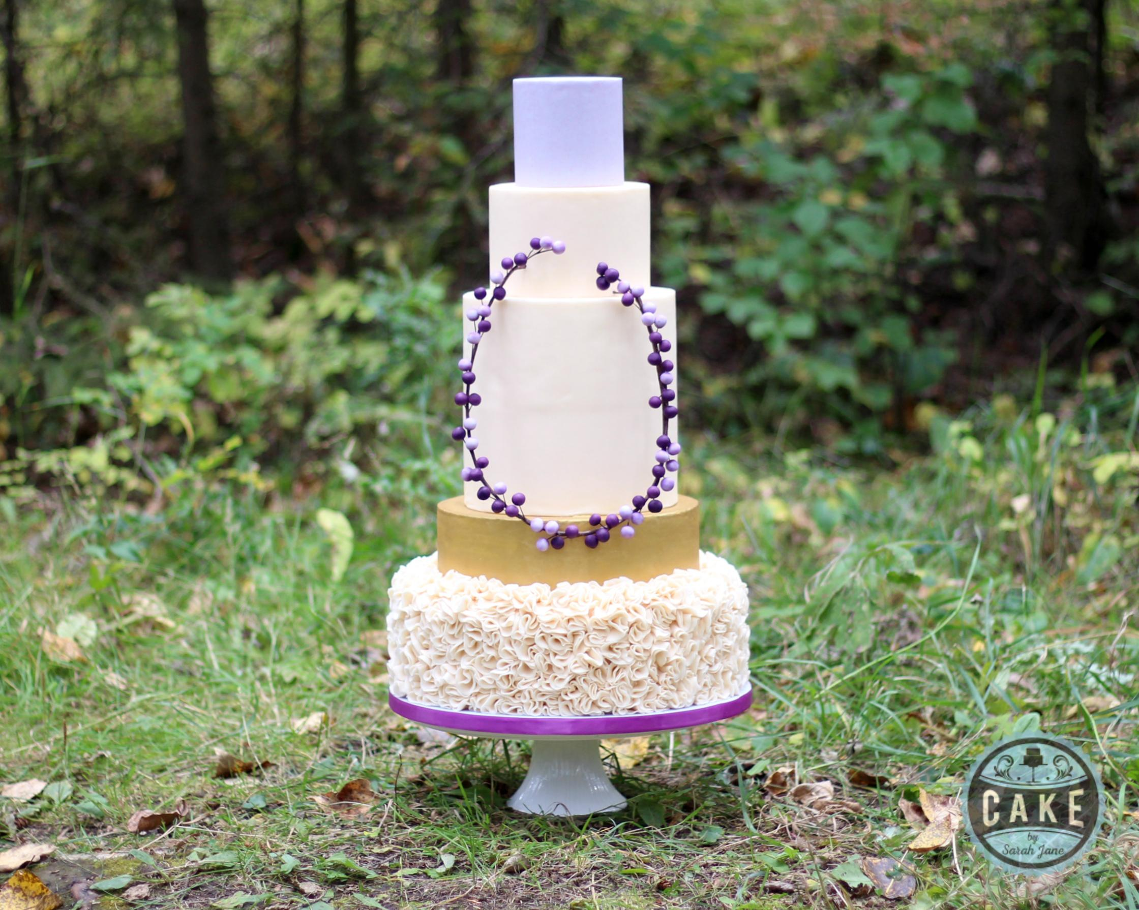 Lilac and Ivory Traditional Ruffle Gold Berries Wedding Cake