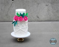 Macrame and Pink Tea Roses Custom Cake
