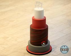 Red Marble Pokemon Wedding Cake