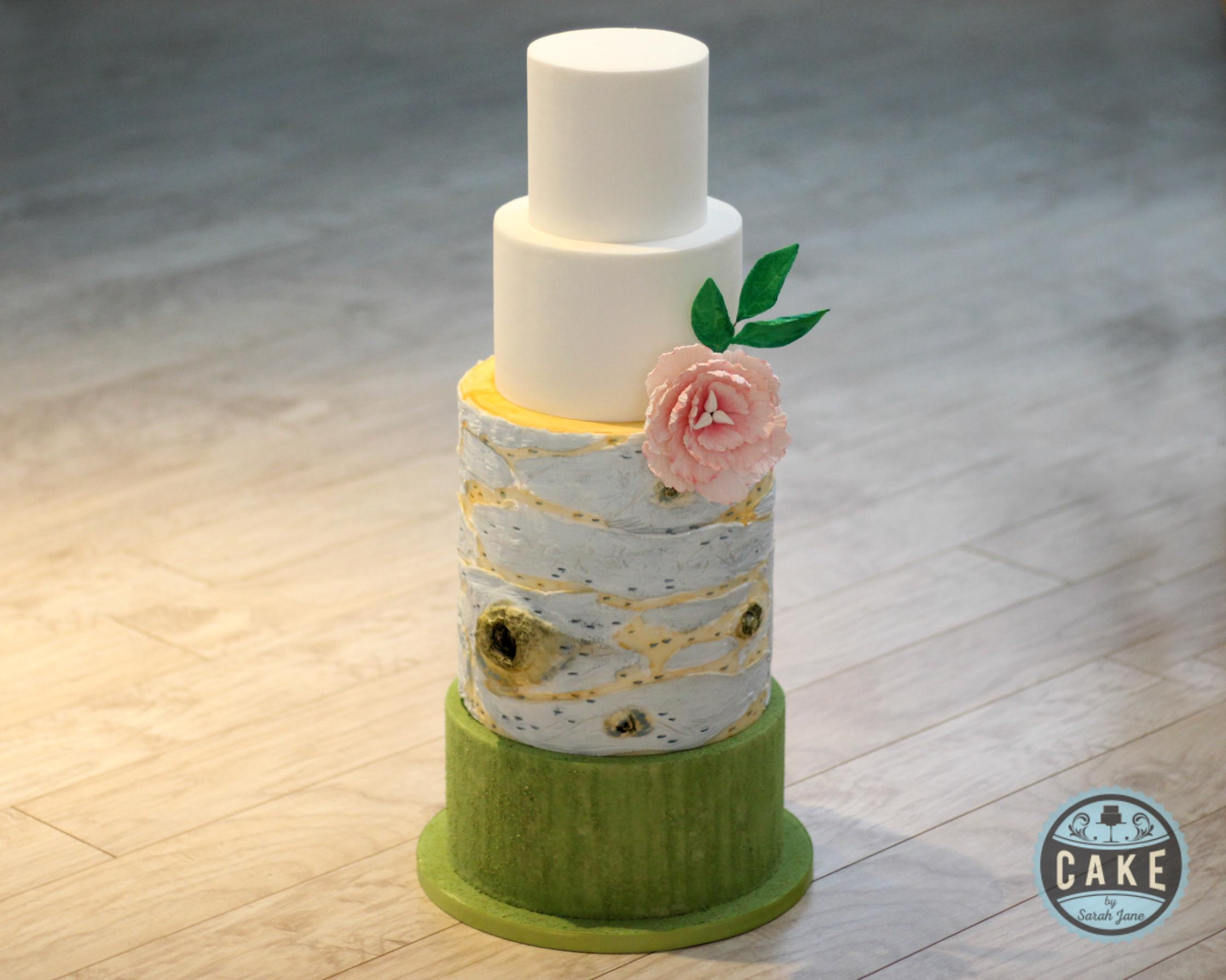 Custom Birch Wedding Cake Moss Peony