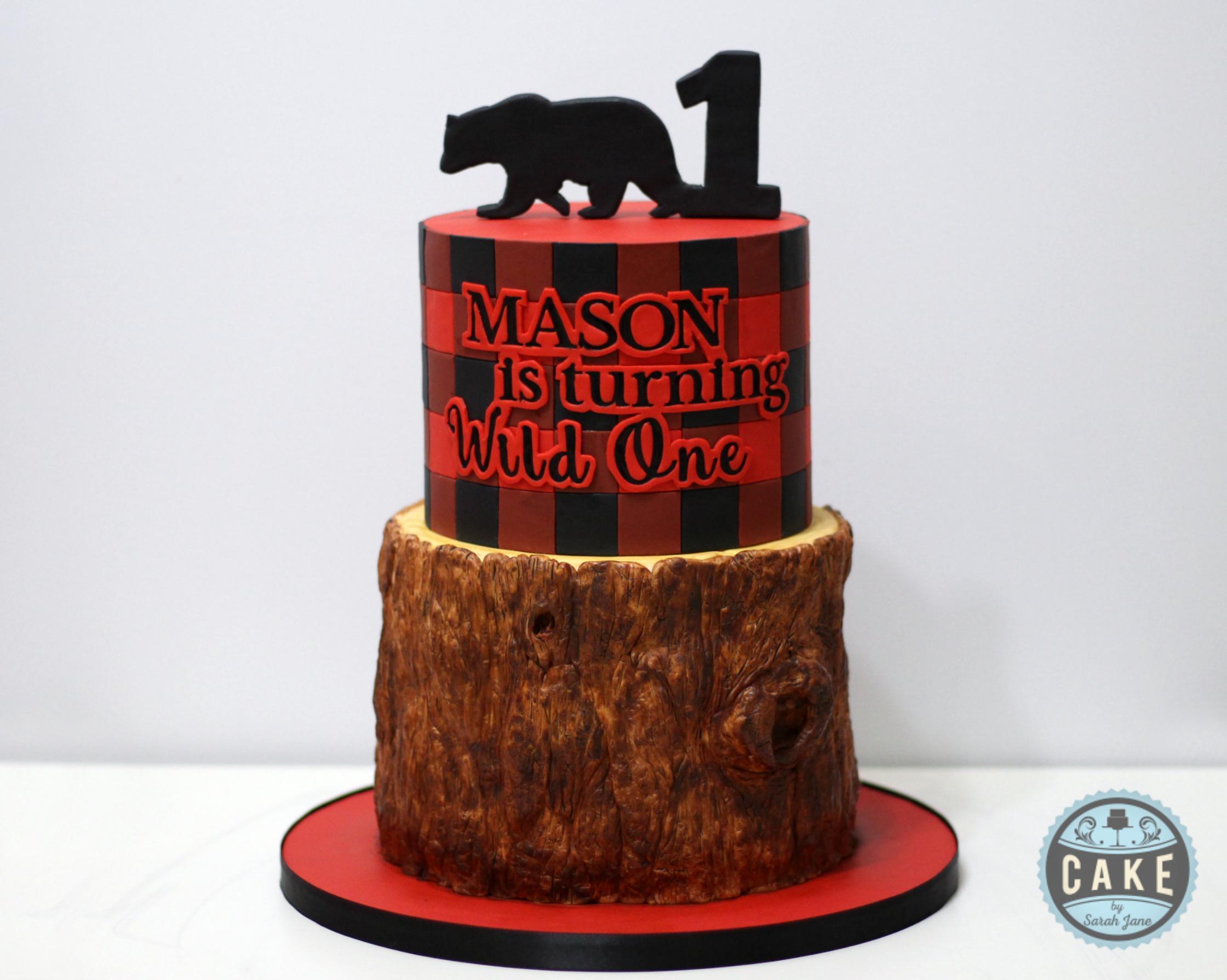 Wild One Plaid Birthday Cake