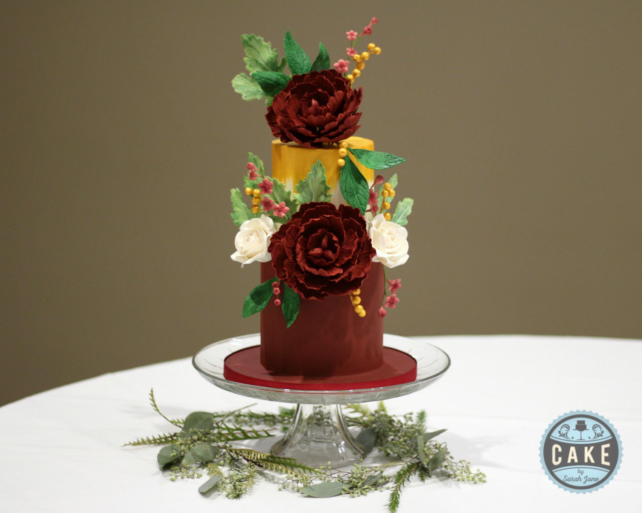 Burgundy Gold White Wedding Cake