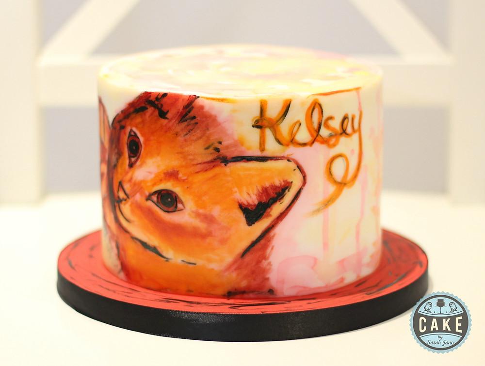 Watercolor Kitten Cake