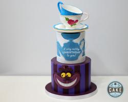 Alice in Wonderland Cheshire Cat Custom Unbirthday Cake