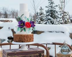 Hidden Spring Ranch Rustic Winter Wedding Cake Custom Calgary