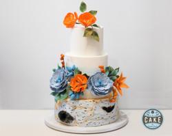 Blue Orange Birch Wedding Cake