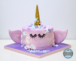 pink purple Watercolor Narwhal Birthday
